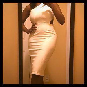 ASOS White Midi Dress with Cutouts